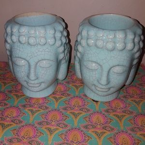 Buddha head candle holders, perfect condition